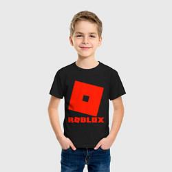 Футболка хлопковая детская Roblox Logo цвета черный — фото 2
