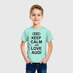 Футболка хлопковая детская Keep Calm & Love Audi цвета мятный — фото 2