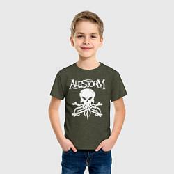 Футболка хлопковая детская Alestorm: Octopus Skull цвета меланж-хаки — фото 2