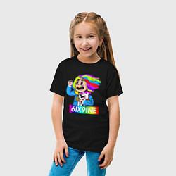 Футболка хлопковая детская 6IX9INE цвета черный — фото 2