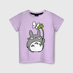 Футболка хлопковая детская Totoro и бабочка цвета лаванда — фото 1