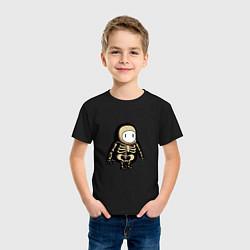 Футболка хлопковая детская Fall guys skeleton цвета черный — фото 2