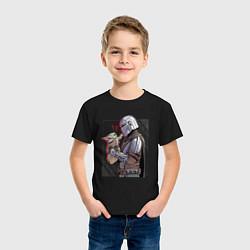 Футболка хлопковая детская Мандалорец и Дитя цвета черный — фото 2