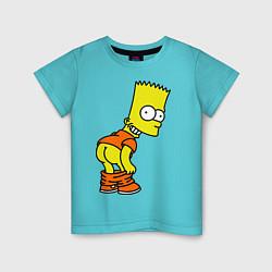 Детская хлопковая футболка с принтом Задница Барта, цвет: бирюзовый, артикул: 10027807800014 — фото 1