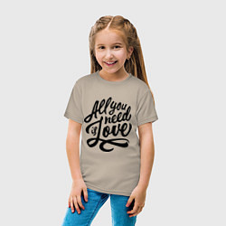 Футболка хлопковая детская All you need is love цвета миндальный — фото 2