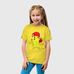 Футболка хлопковая детская Пикачу цвета желтый — фото 2