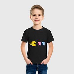Футболка хлопковая детская Pac-Man: Fast Eat цвета черный — фото 2