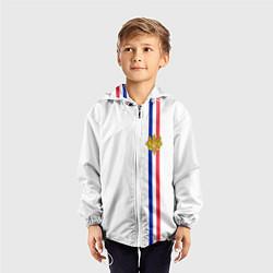 Ветровка с капюшоном детская Франция: лента с гербом цвета 3D-белый — фото 2
