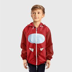Ветровка с капюшоном детская AMONG US RED IMPOSTOR цвета 3D-белый — фото 2