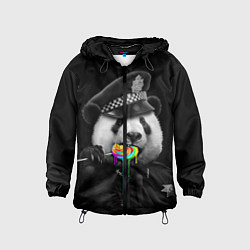 Ветровка с капюшоном детская Панда с карамелью цвета 3D-черный — фото 1