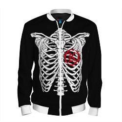 Бомбер мужской Кукрыниксы: Скелет цвета 3D-белый — фото 1