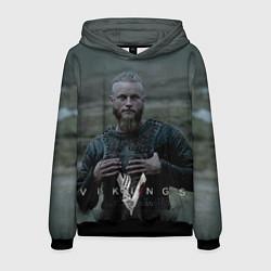 Толстовка-худи мужская Vikings: Ragnarr Lodbrok цвета 3D-черный — фото 1
