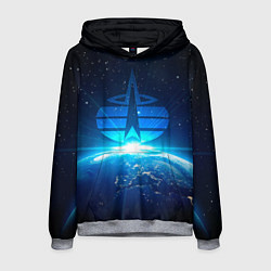 Толстовка-худи мужская Космические войска цвета 3D-меланж — фото 1