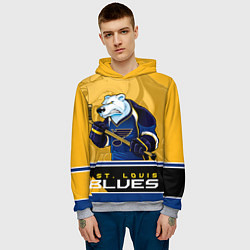 Толстовка-худи мужская St. Louis Blues цвета 3D-меланж — фото 2