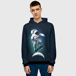 Толстовка-худи мужская Космический скейтбординг цвета 3D-черный — фото 2