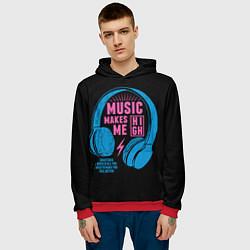Толстовка-худи мужская Музыка делает меня лучше цвета 3D-красный — фото 2