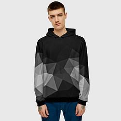 Толстовка-худи мужская Abstract gray цвета 3D-черный — фото 2