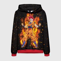 Толстовка-худи мужская Fire Goku цвета 3D-красный — фото 1