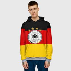 Толстовка-худи мужская Немецкий футбол цвета 3D-меланж — фото 2