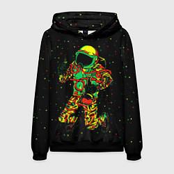 Толстовка-худи мужская Космонавт с кальяном цвета 3D-черный — фото 1