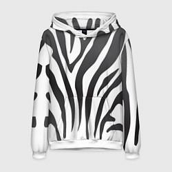 Толстовка-худи мужская Африканская зебра цвета 3D-белый — фото 1