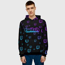 Толстовка-худи мужская Twitch: Neon Style цвета 3D-черный — фото 2