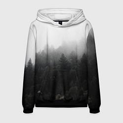 Толстовка-худи мужская Лес цвета 3D-черный — фото 1