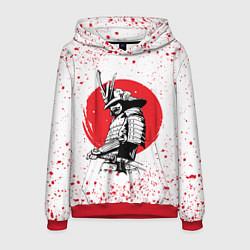 Толстовка-худи мужская Самурай в каплях крови Z цвета 3D-красный — фото 1