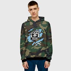 Толстовка-худи мужская Рваный камуфляж ВДВ цвета 3D-черный — фото 2