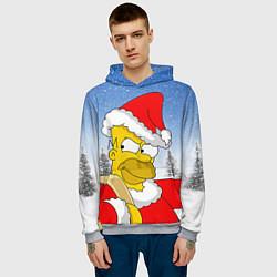 Толстовка-худи мужская Санта Гомер цвета 3D-меланж — фото 2