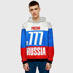 Толстовка-худи мужская Russia: from 777 цвета 3D-черный — фото 2