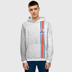 Толстовка-худи мужская Сборная Исландии по футболу цвета 3D-белый — фото 2