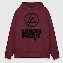 Толстовка оверсайз мужская Linkin Park цвета меланж-бордовый — фото 1