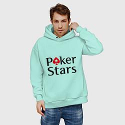 Толстовка оверсайз мужская Poker Stars цвета мятный — фото 2