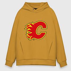 Толстовка оверсайз мужская Calgary Flames цвета горчичный — фото 1