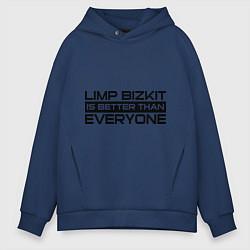 Толстовка оверсайз мужская Limp Bizkit: Everyone цвета тёмно-синий — фото 1