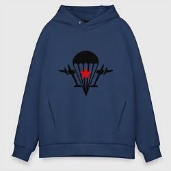 Толстовка оверсайз мужская Самолеты ВДВ цвета тёмно-синий — фото 1