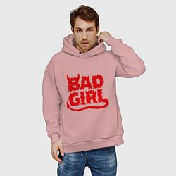 Толстовка оверсайз мужская Bad Girl цвета пыльно-розовый — фото 2