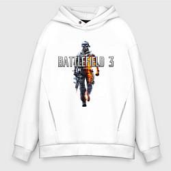 Толстовка оверсайз мужская Battlefield 3 цвета белый — фото 1