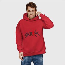 Толстовка оверсайз мужская Skrillex цвета красный — фото 2