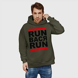 Толстовка оверсайз мужская Run Вася Run цвета хаки — фото 2