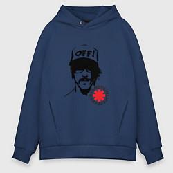 Толстовка оверсайз мужская Red Hot Chili Peppers: Off цвета тёмно-синий — фото 1