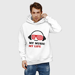 Толстовка оверсайз мужская My music my life цвета белый — фото 2