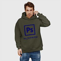 Толстовка оверсайз мужская Photoshop цвета хаки — фото 2