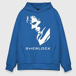 Толстовка оверсайз мужская Sherlock Face цвета синий — фото 1