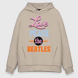 Мужское худи оверсайз Love peace the Beatles