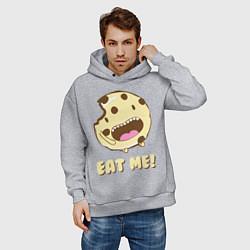 Толстовка оверсайз мужская Cake: Eat me! цвета меланж — фото 2