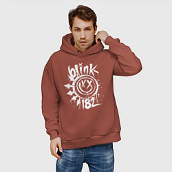 Толстовка оверсайз мужская Blink-182: Smile цвета кирпичный — фото 2