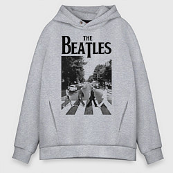 Толстовка оверсайз мужская The Beatles: Mono Abbey Road цвета меланж — фото 1