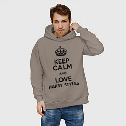 Толстовка оверсайз мужская Keep Calm & Love Harry Styles цвета утренний латте — фото 2